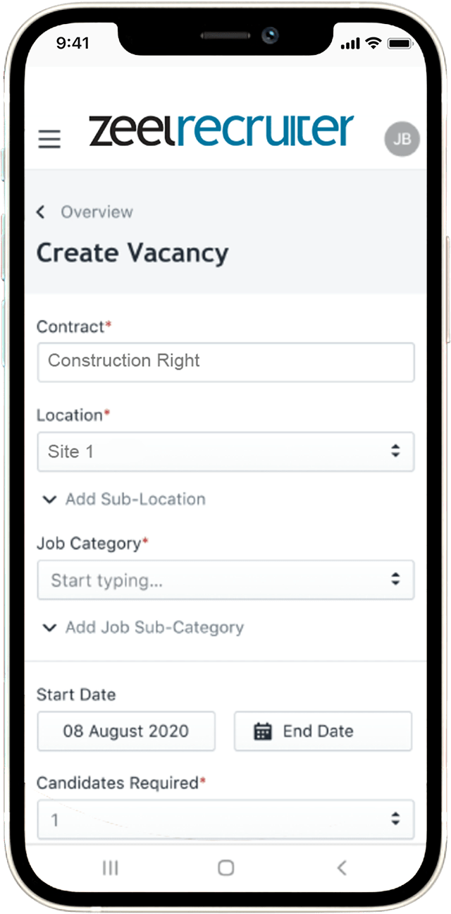 Recruitment software on mobile screen