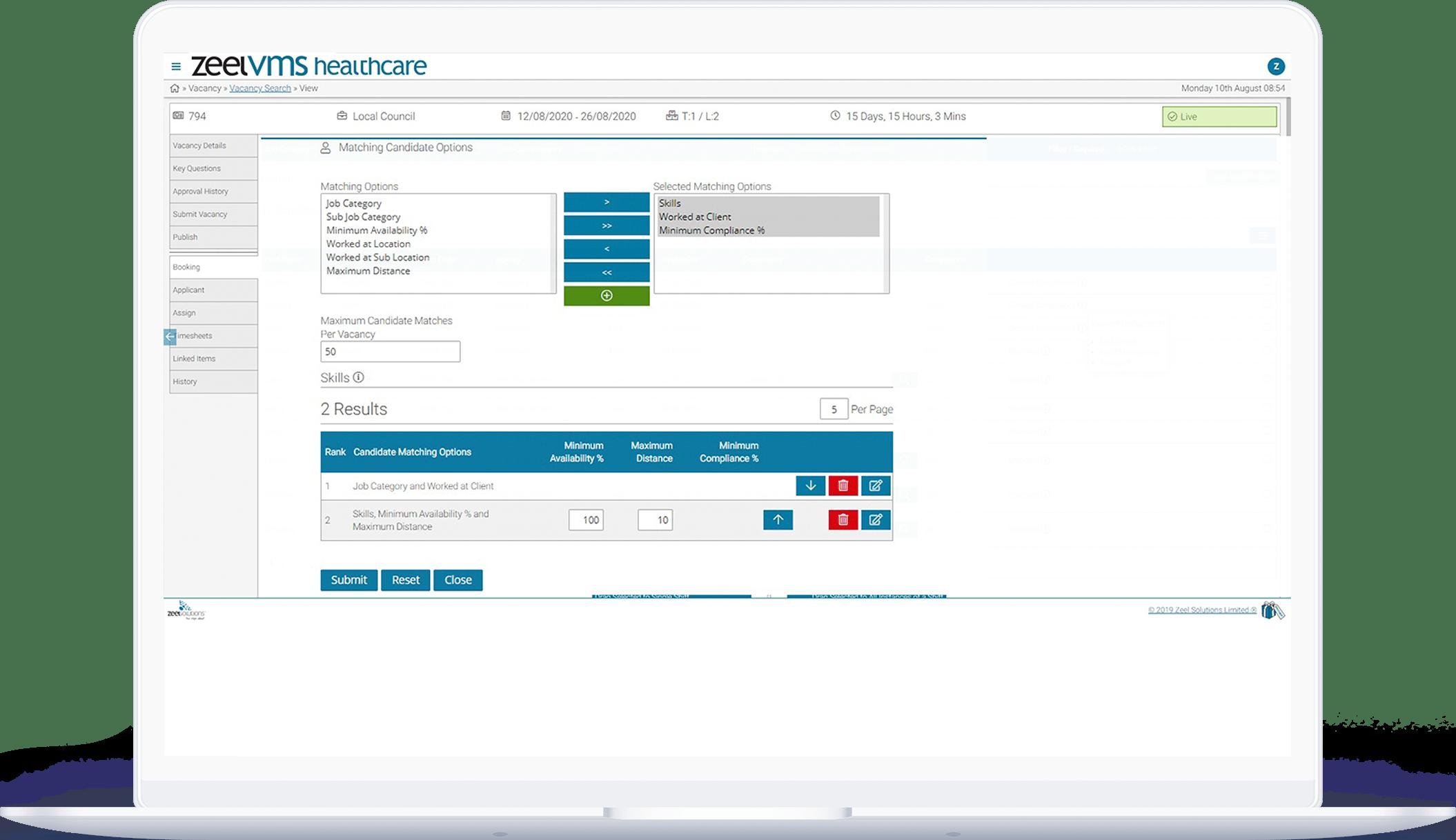 vacancy search healthcare VMS