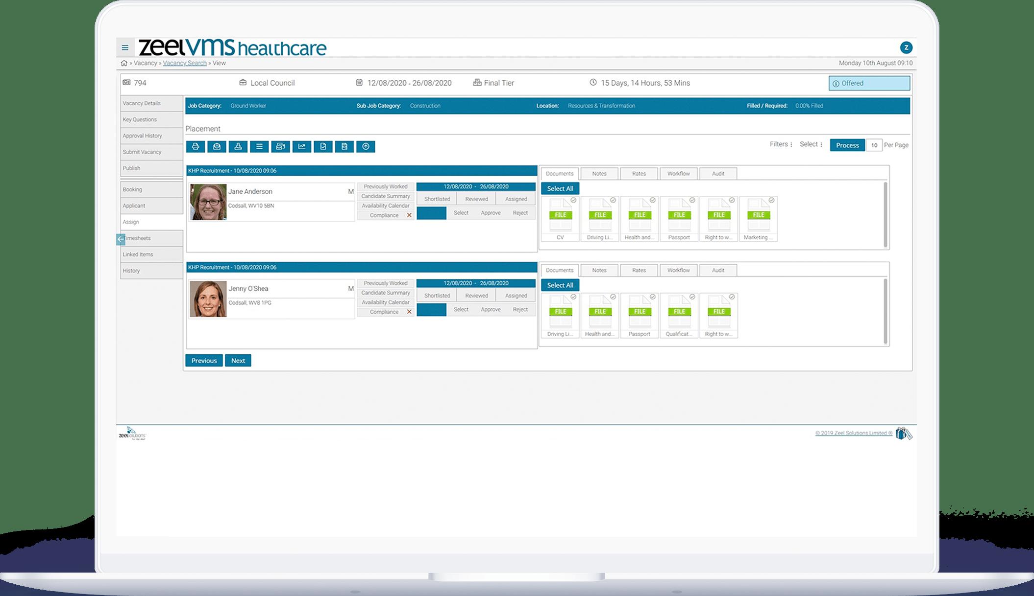 Zeel healthcare VMS dashboard