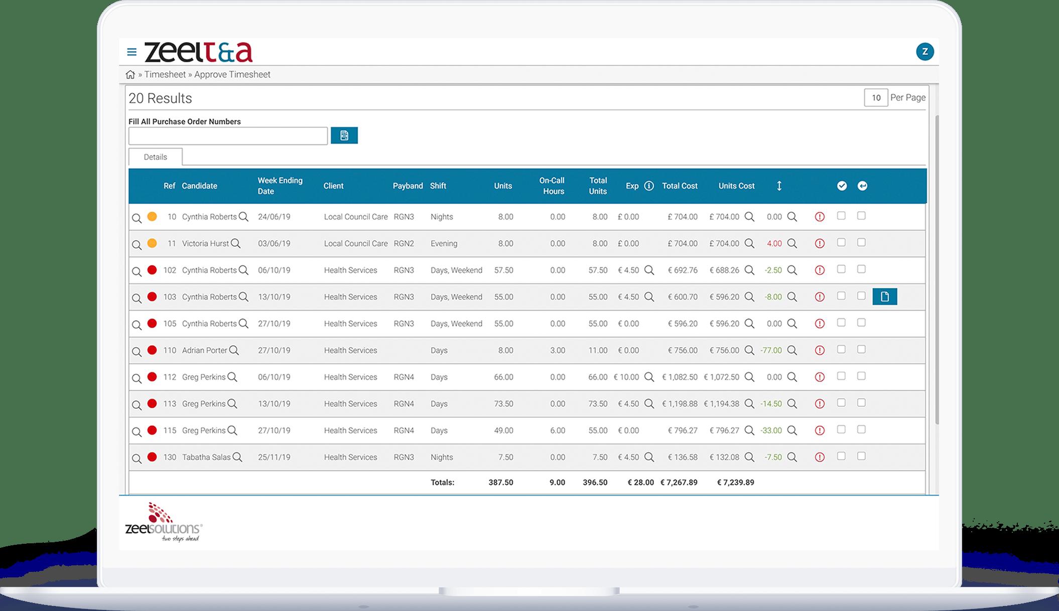 Recruitment Timesheet Software dashboard