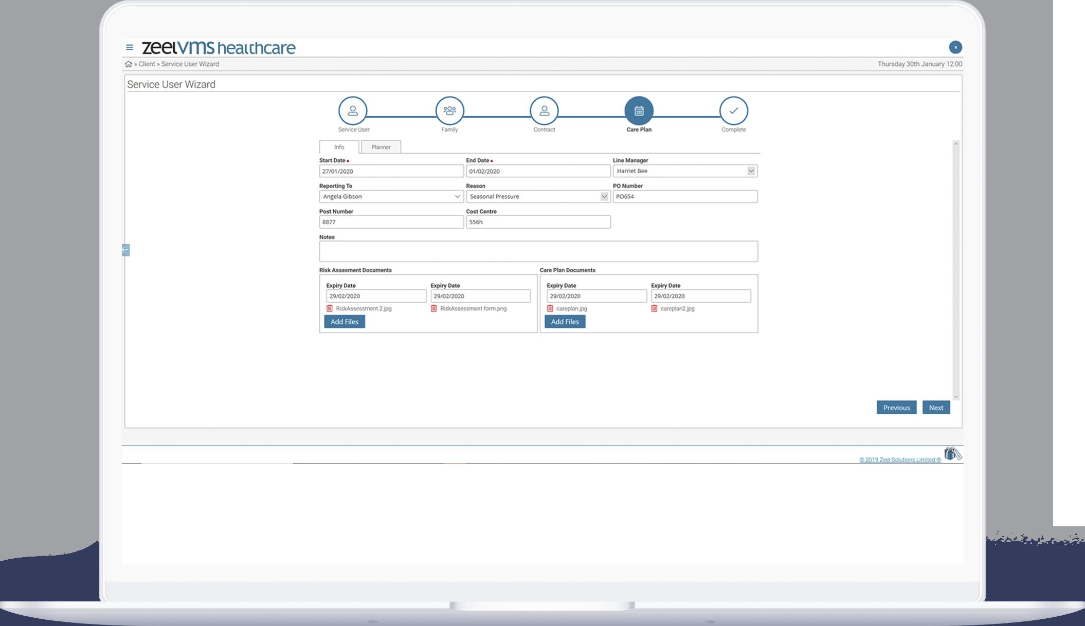 Zeel VMS healthcare service user dashboard