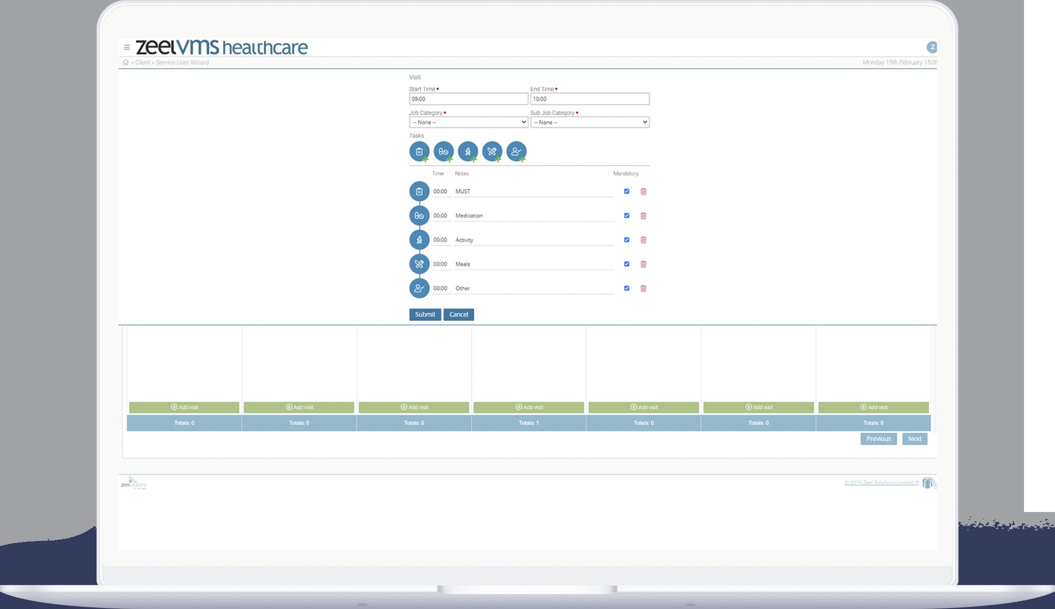 Zeel VMS healthcare tracking dashboard