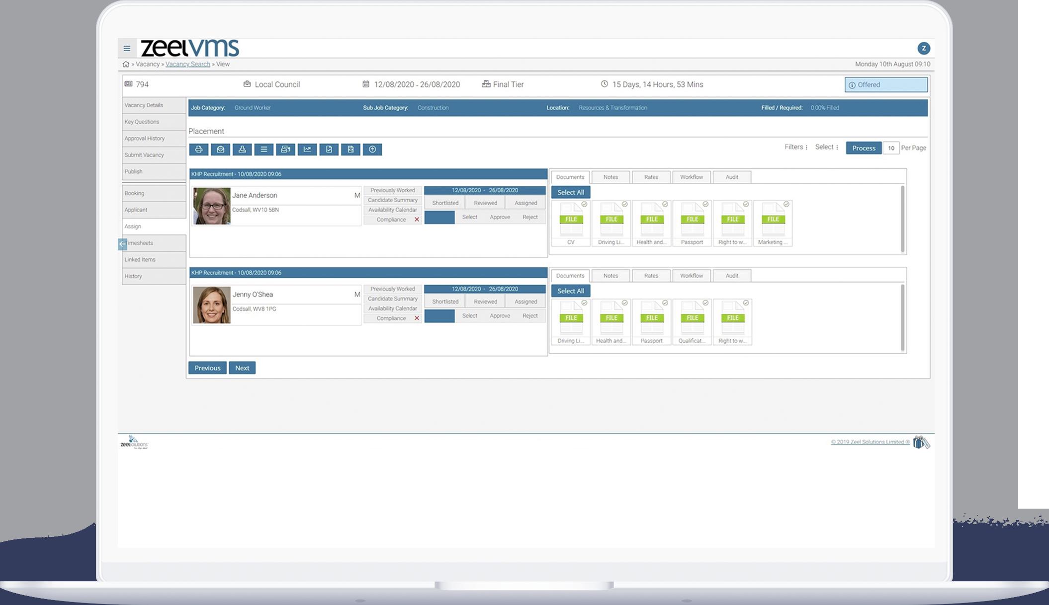 VMS vacancy dashboard search