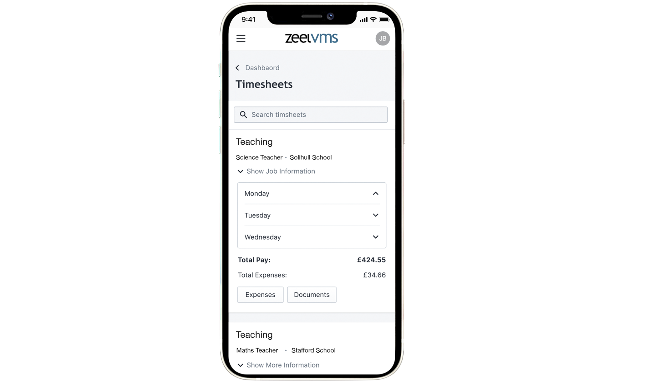 Education VMS dashboard on mobile