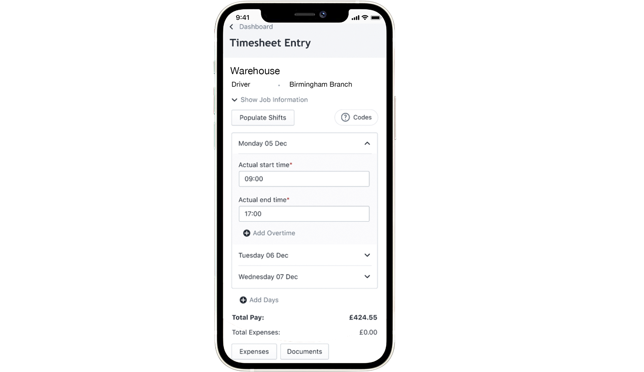 Warehouse VMS dashboard on mobile