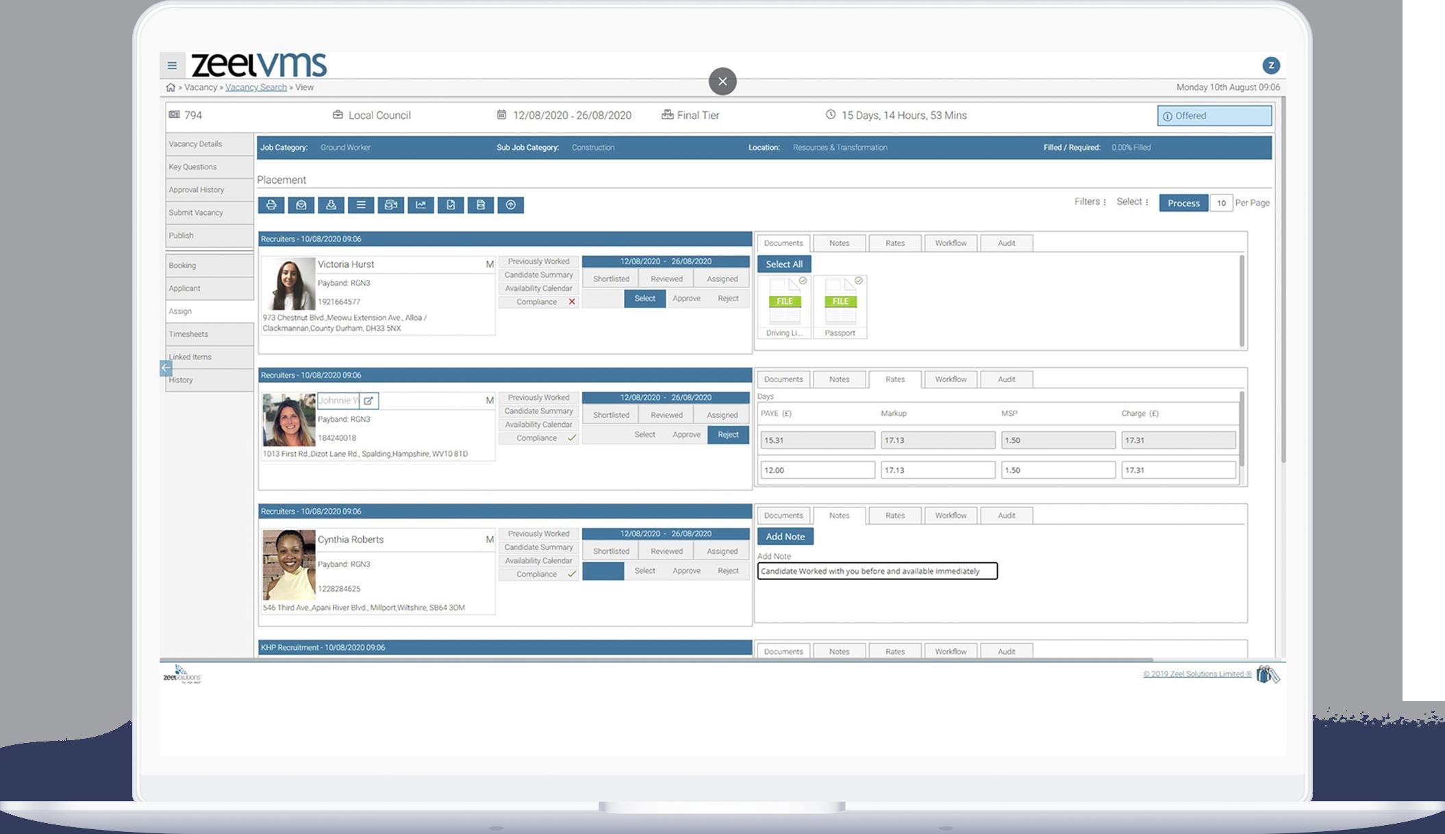 Recruitment VMS software vacancy dashboard