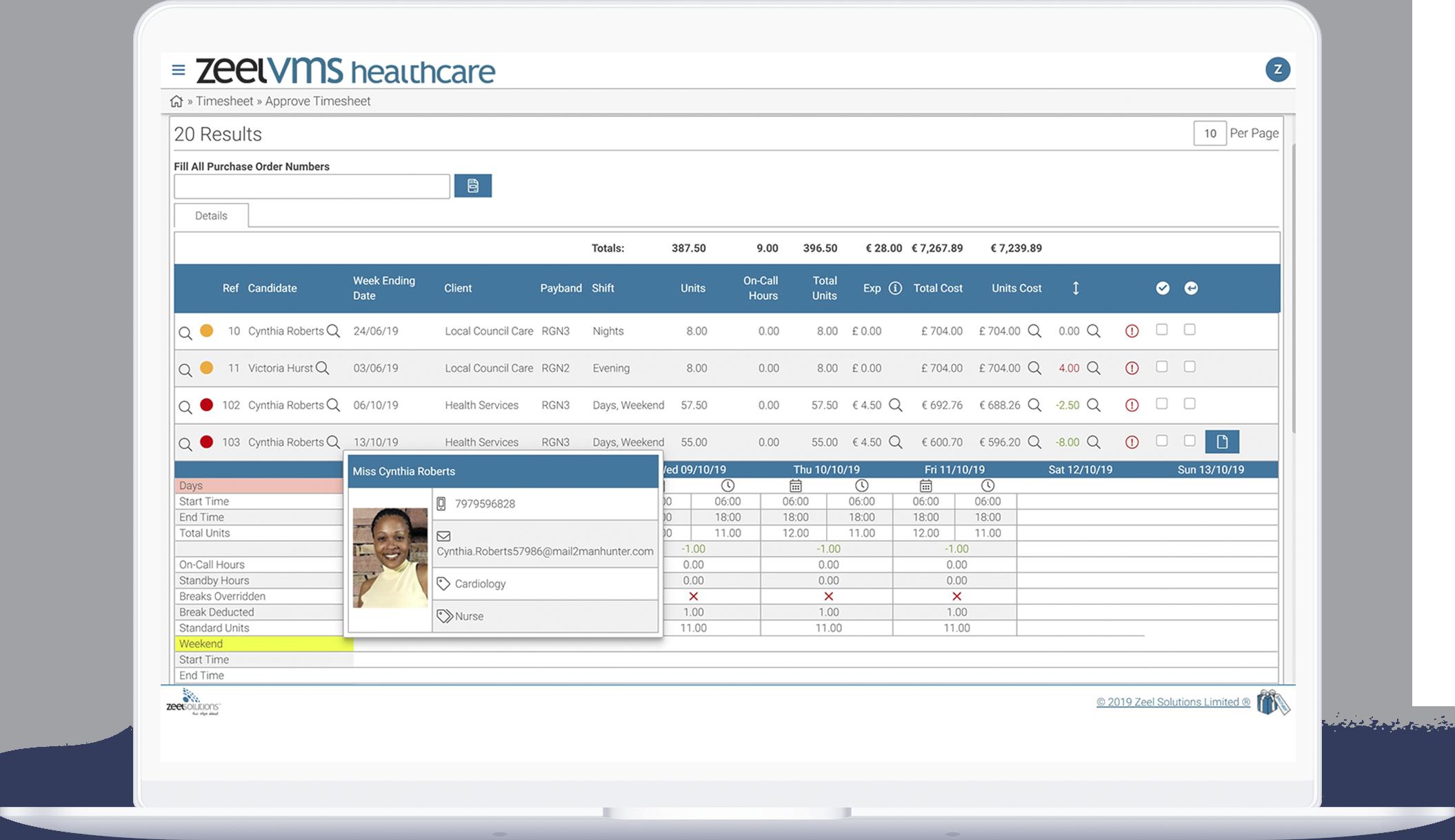 Healthcare recruitment VMS dashboard