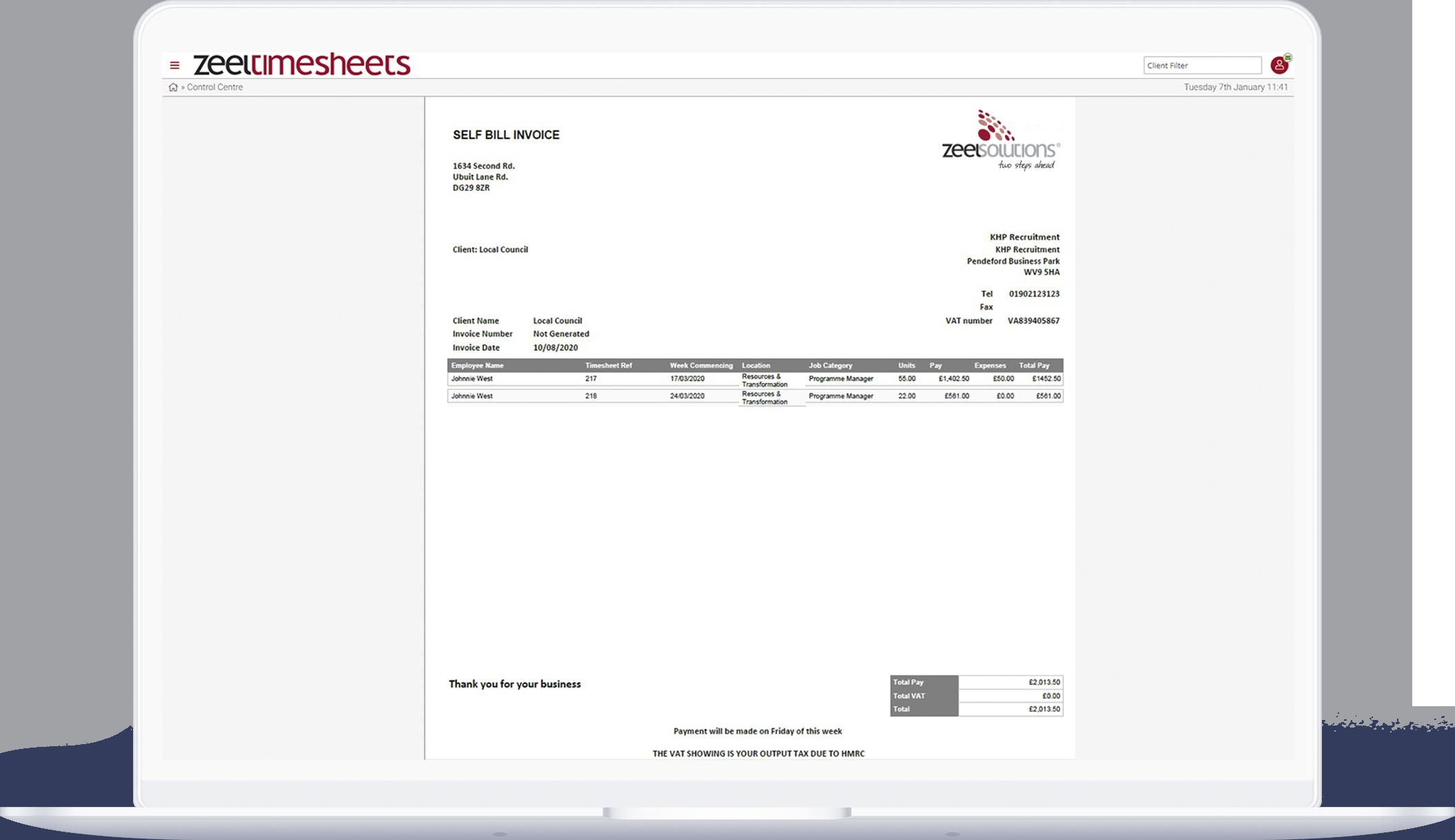 Zeel invoice preview