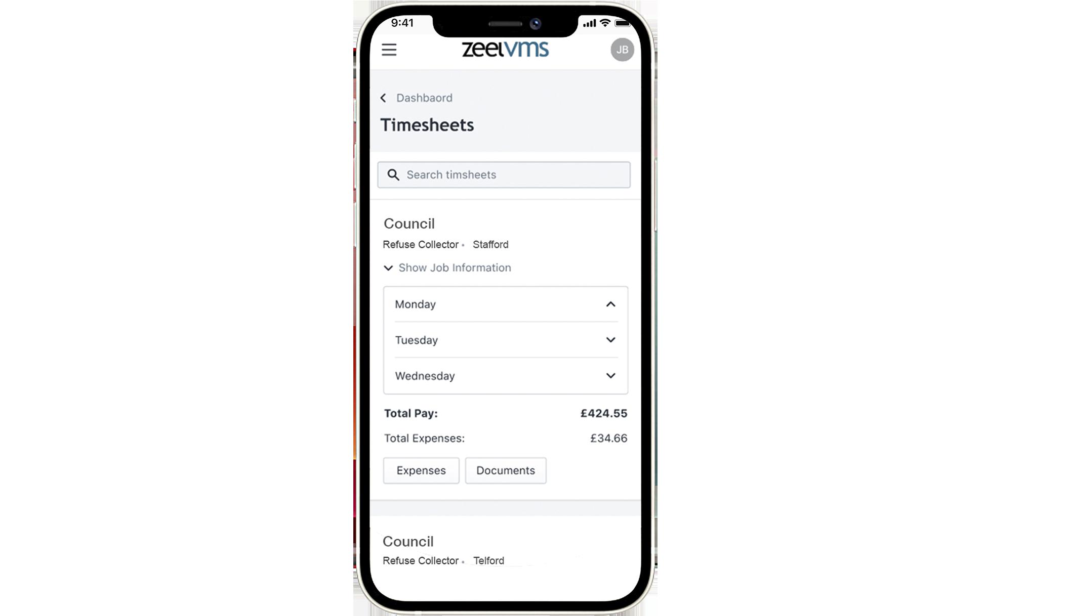 Mobile dashboard Zeel VMS