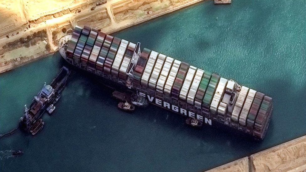 Ever Given ship stuck in Suez Canal aerial shot