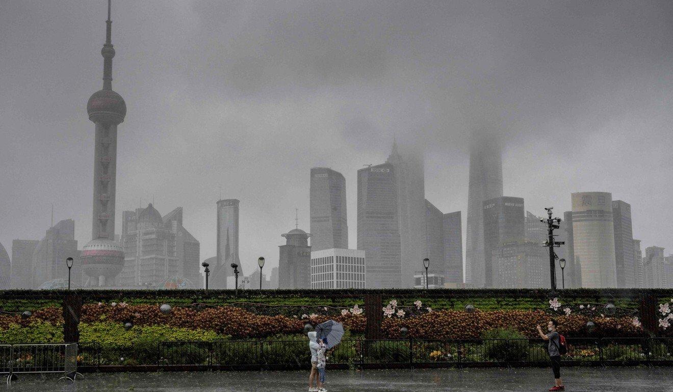 Shanghai skyline amidst Typhoon In-Fa | Source AFP