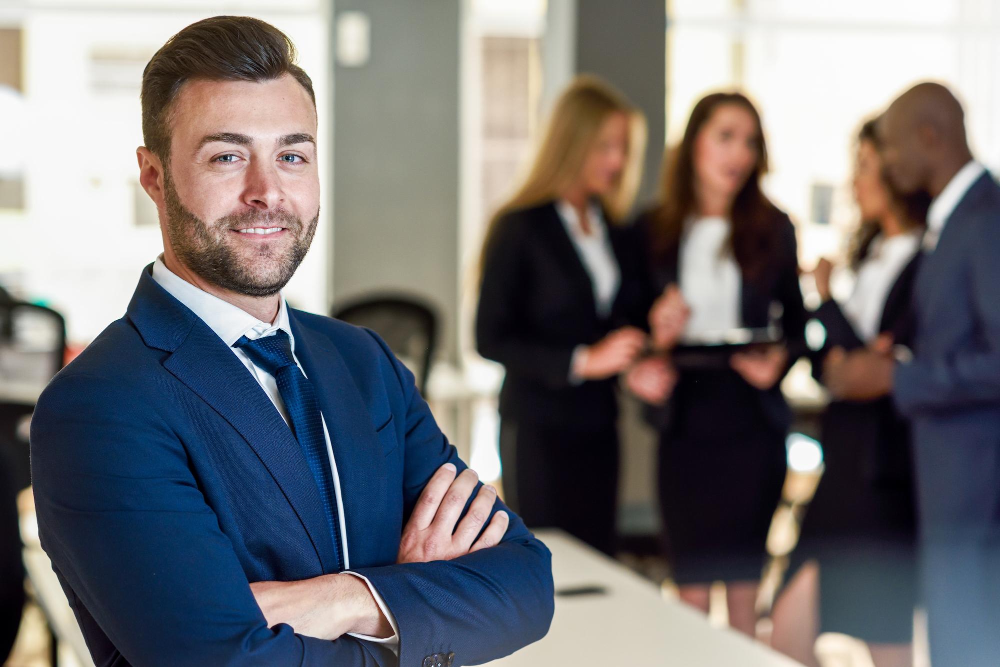 business man team leader smiling