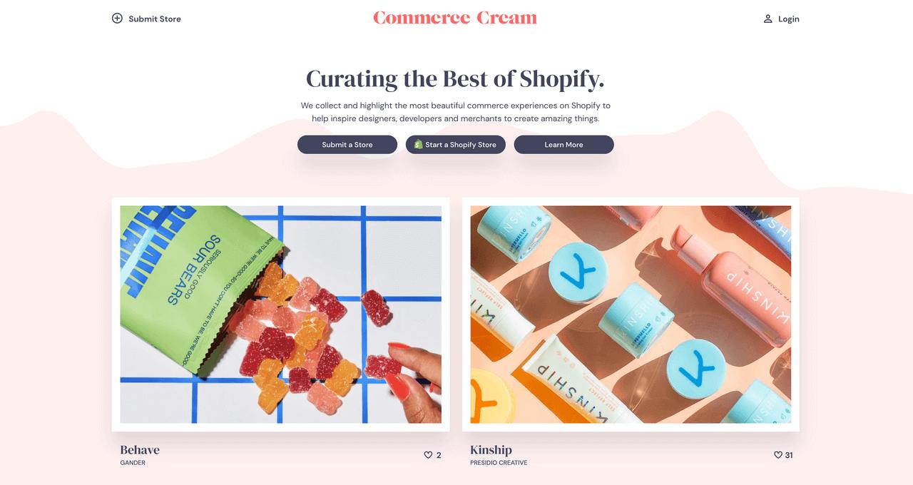 commerce-cream-website-screenshot