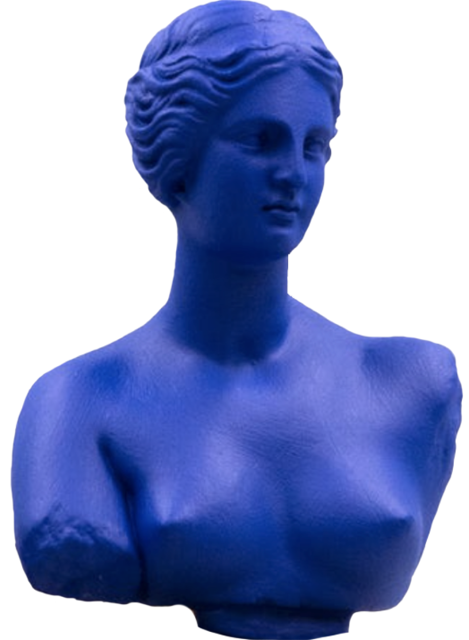 blue statue of a woman