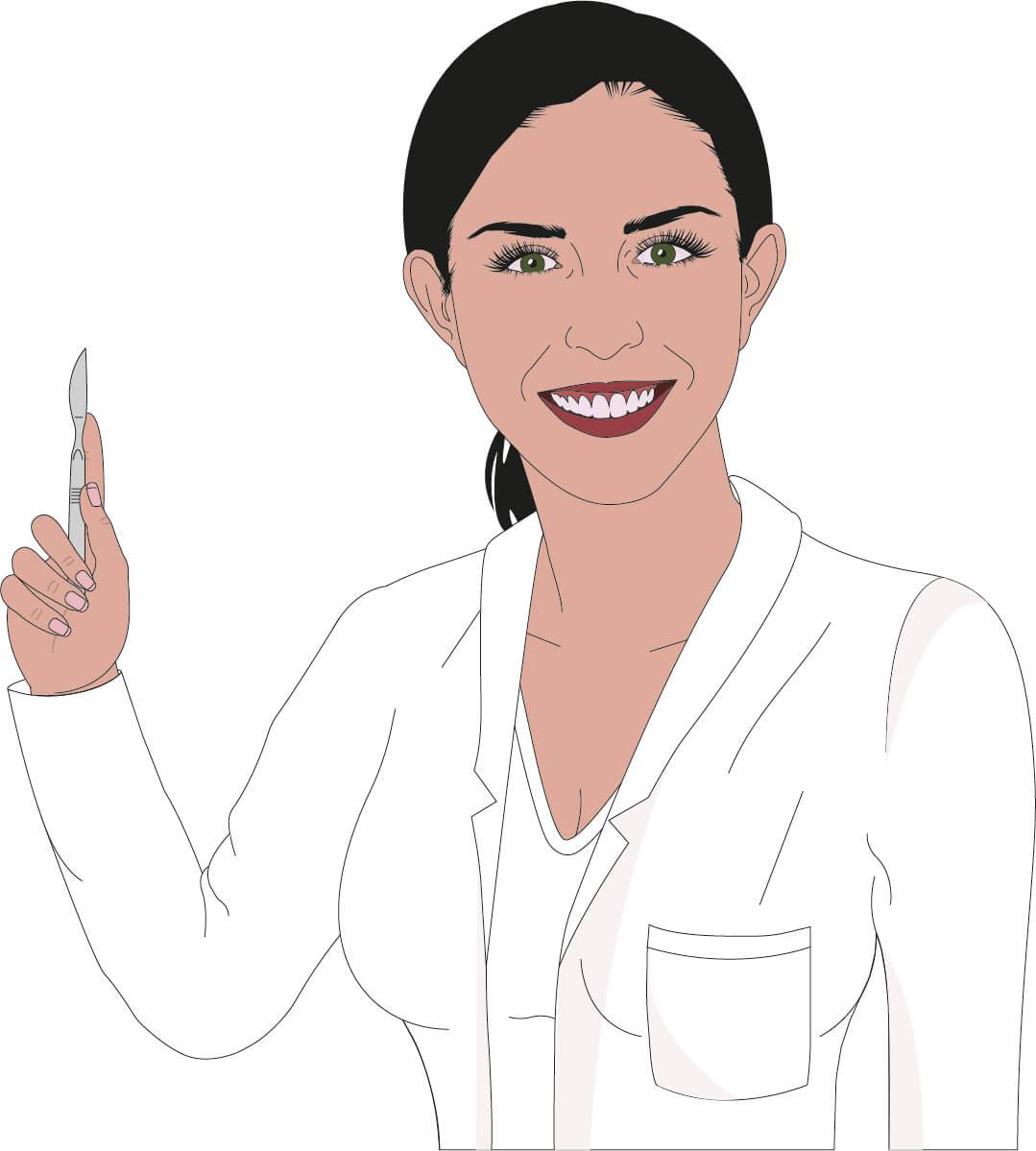 dr.dentina Avatar mit Skalpell