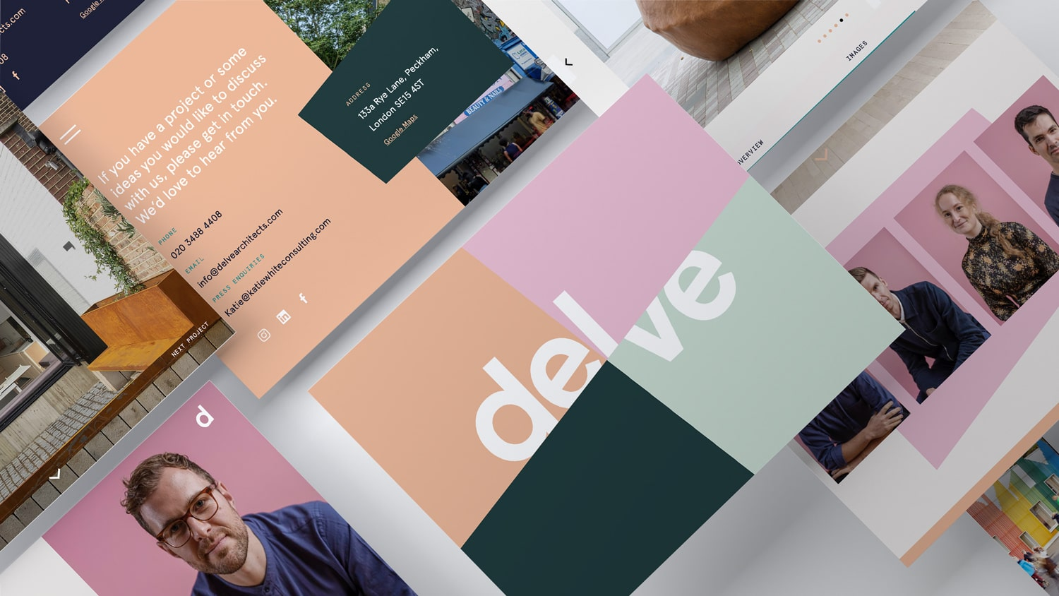 Delve are an architecture and design practice based in South London with a lot of energy to create spaces that encourage joy and connectivity between people. Working together with the Delve team we designed and developed a bespoke website and branding materials to champion their brand values and projects in a rich and engaging way.