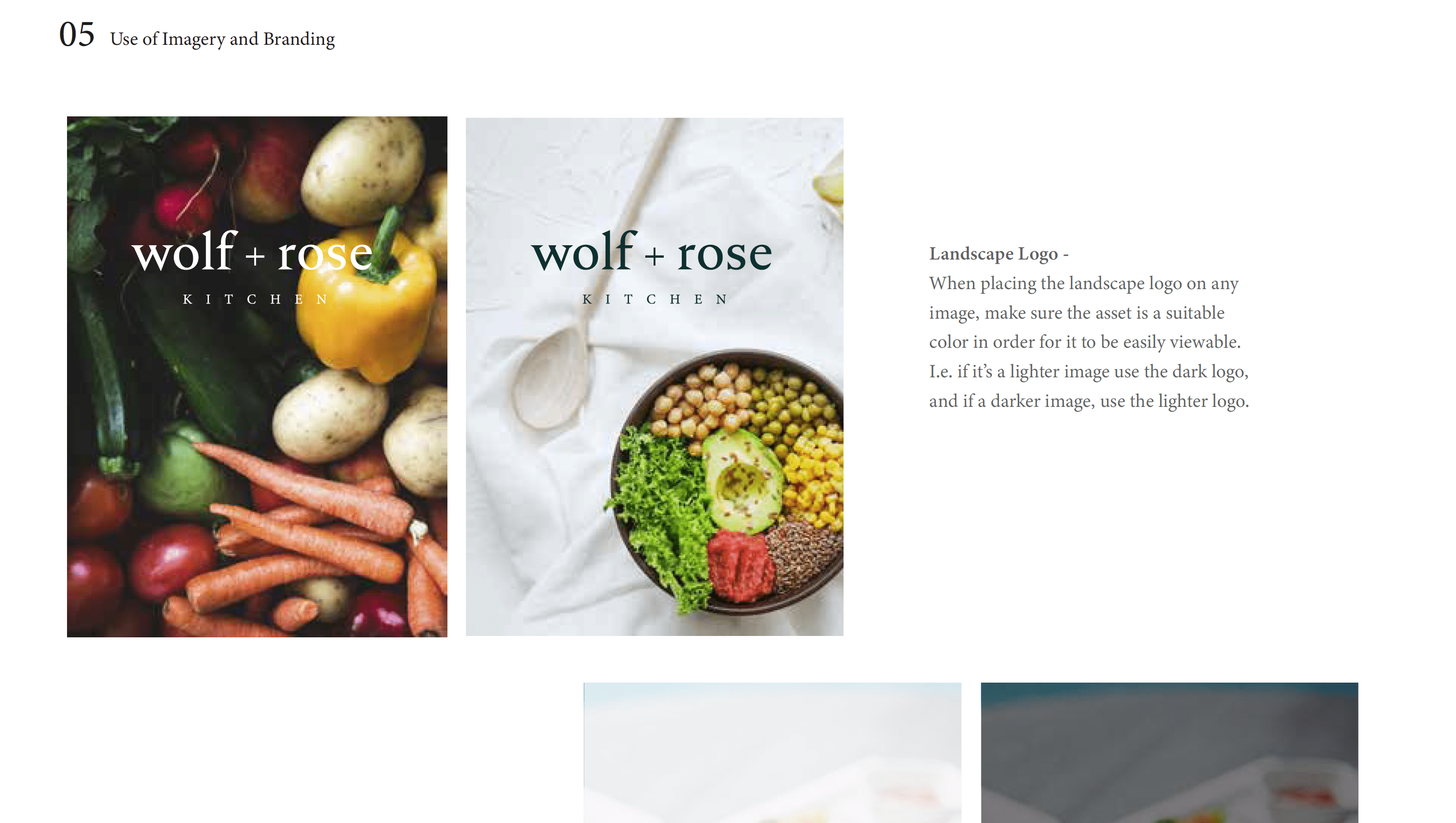 Branding Style Guide for Wolf and Rose - Use of imagery