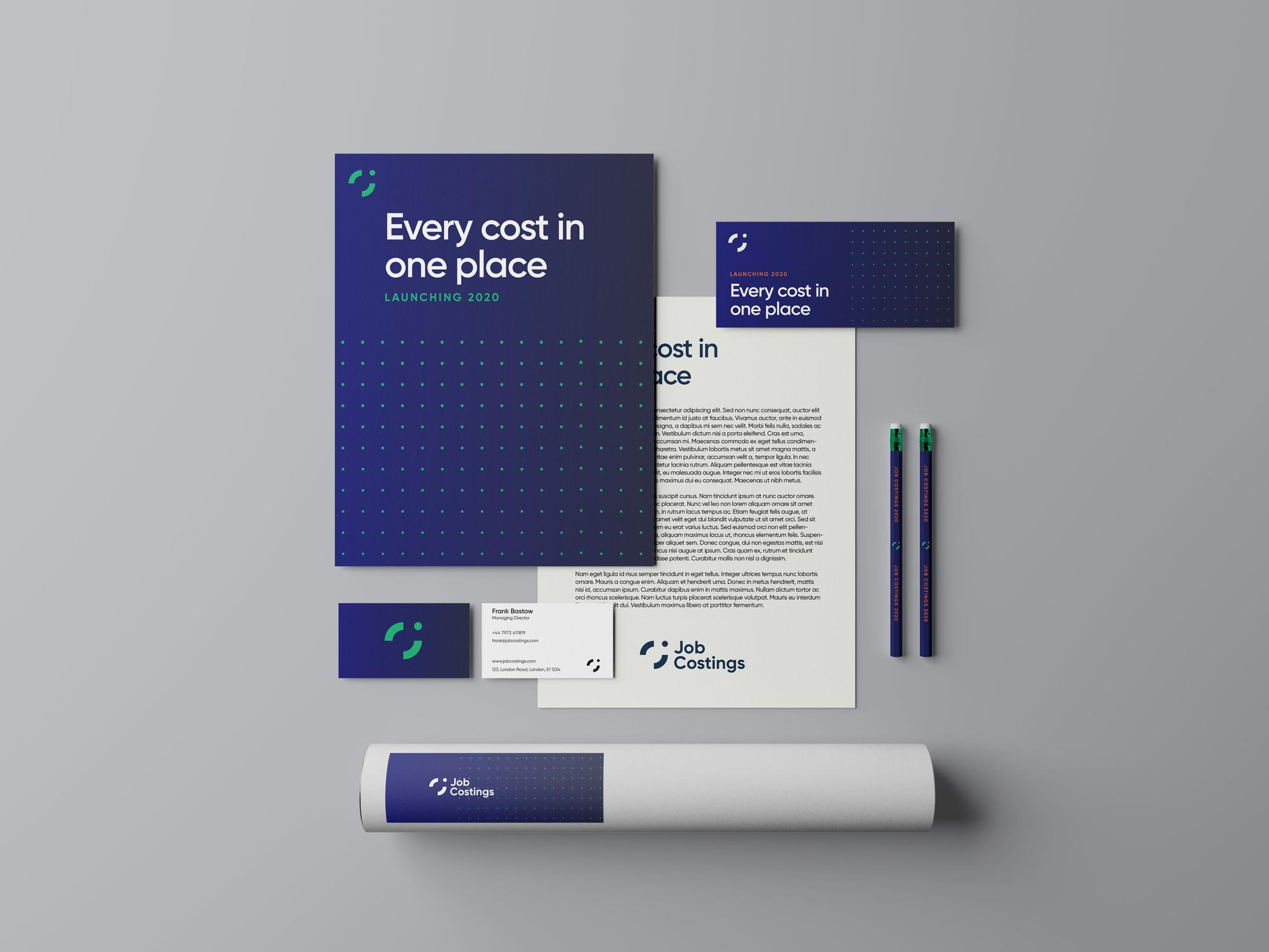 Brand materials: poster, envelope, business cards, pens and  business stationary.