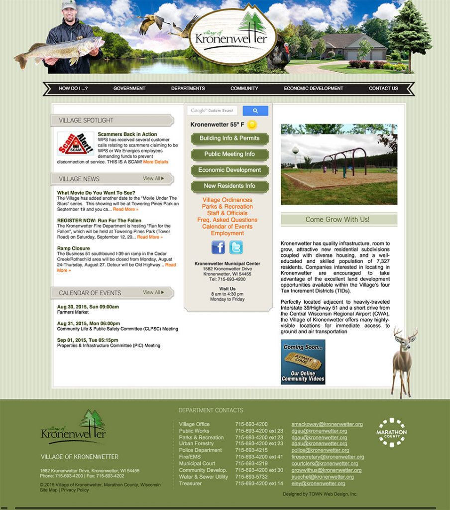 Kronenwetter Municipal Website Design