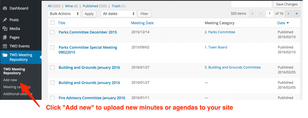 """Click """"Add new"""" to upload new minutes or agendas to your site!"""