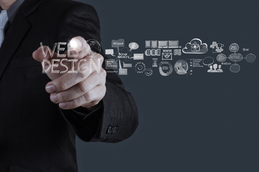 businessman hand working with web design diagram as concept