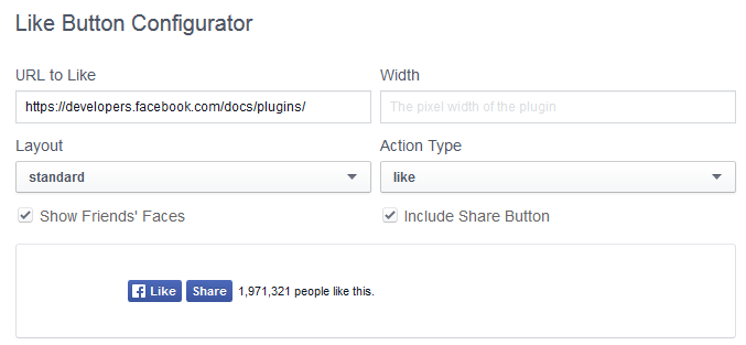 """Configuring the code to add a Facebook """"like"""" button manually."""