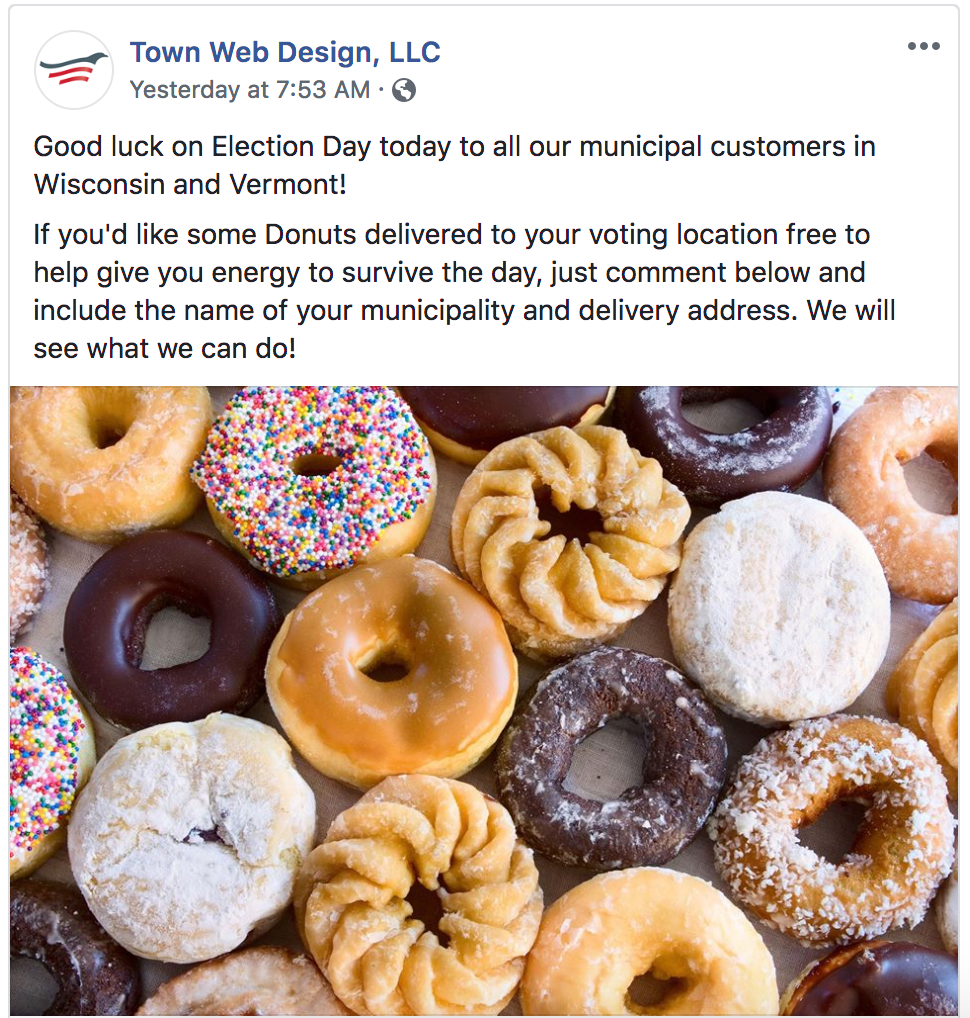facebook post about free donuts during election