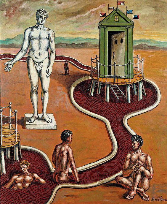 Giorgio de Chirico (Italian painter, 1888-1978): I bagni misteriosi (The Mysterious Baths), 1966. Galleria Nazionale d'Arte Moderna, Roma