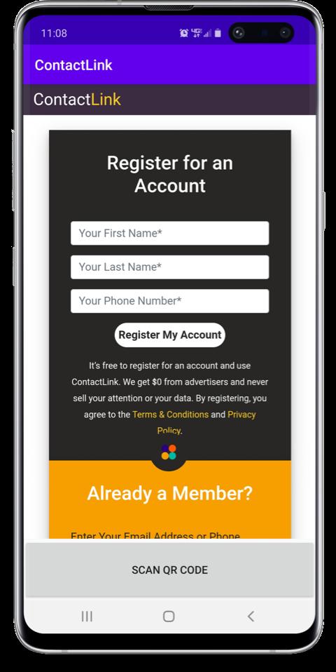 App Mockup, Sign Up
