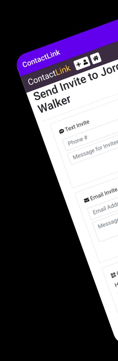 App Mockup, Send Invite