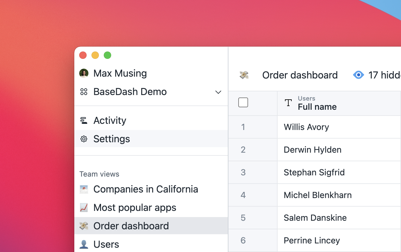 Screenshot of redesigned sidebar in BaseDash