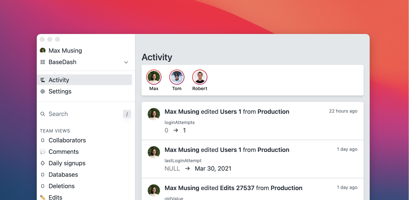 """Screenshot of BaseDash showing the activity page with a new """"stories"""" feature."""
