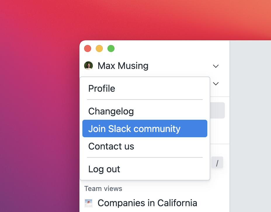 "Screenshot of BaseDash showing a ""Join Slack community"" button."