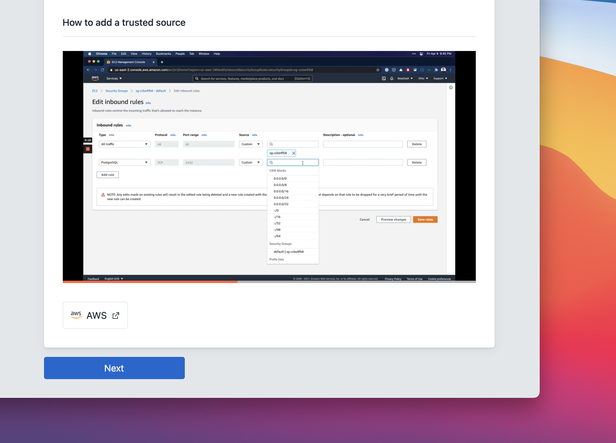 Screenshot of BaseDash showing a video of how to add BaseDash as a trusted source.