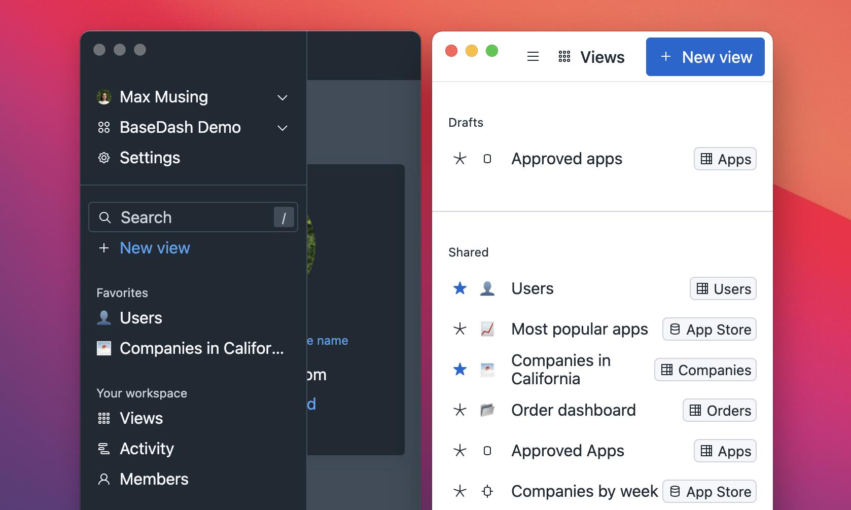 Two screenshots of BaseDash on mobile.