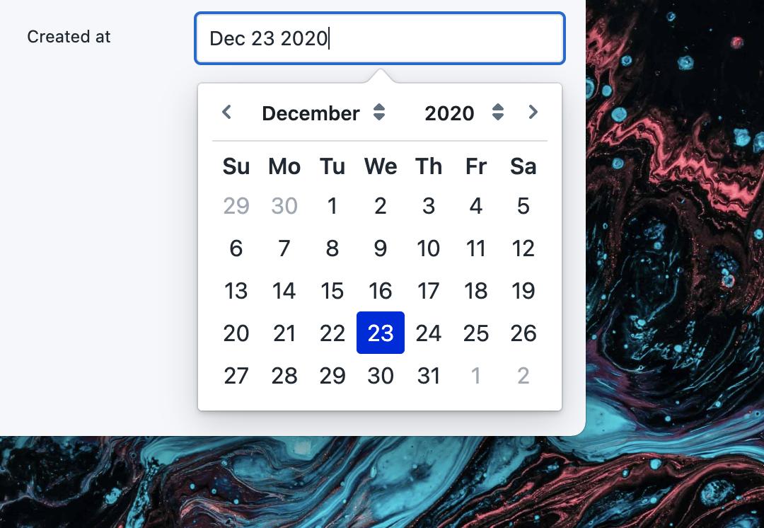 Screenshot showing a date picker to edit a date value.