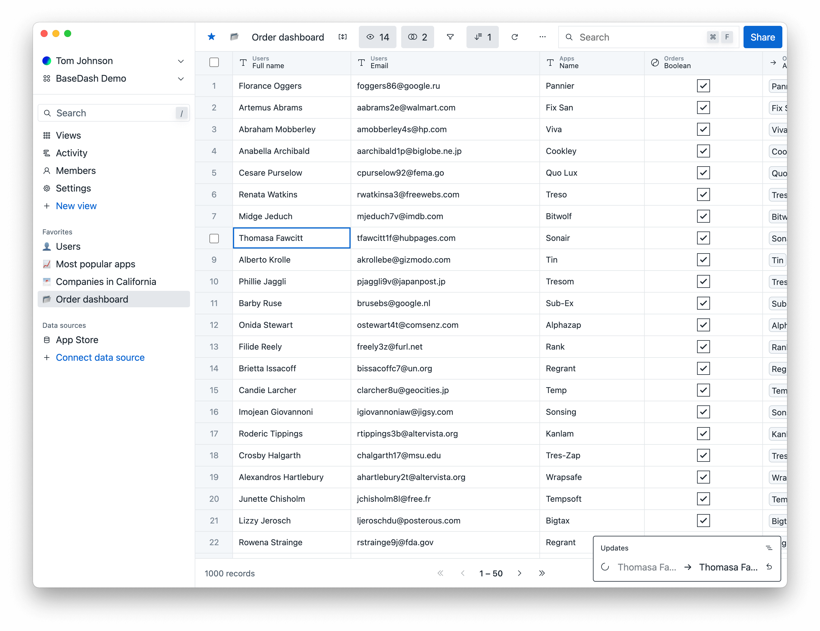 A screenshot of BaseDash, including a database table with user data