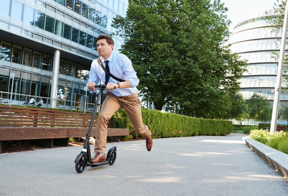 Man commuting to corporate office