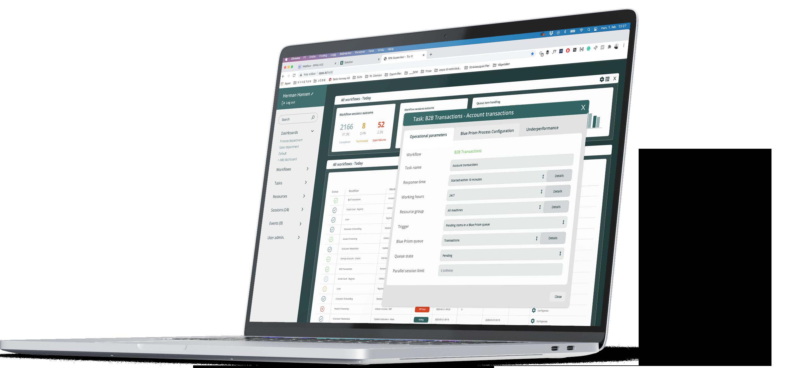 RPA Solution dashboard