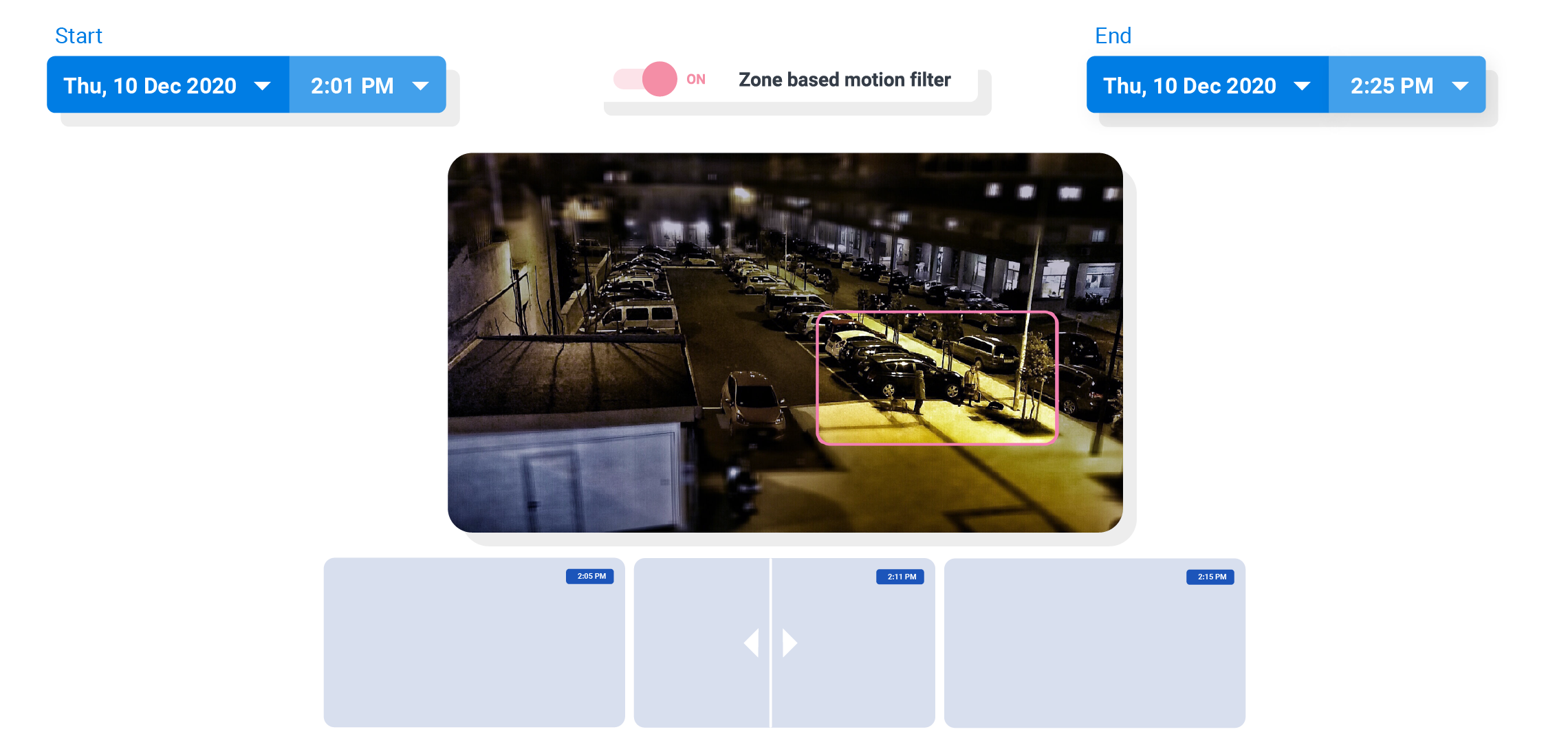 zone based motion filter video surveillance