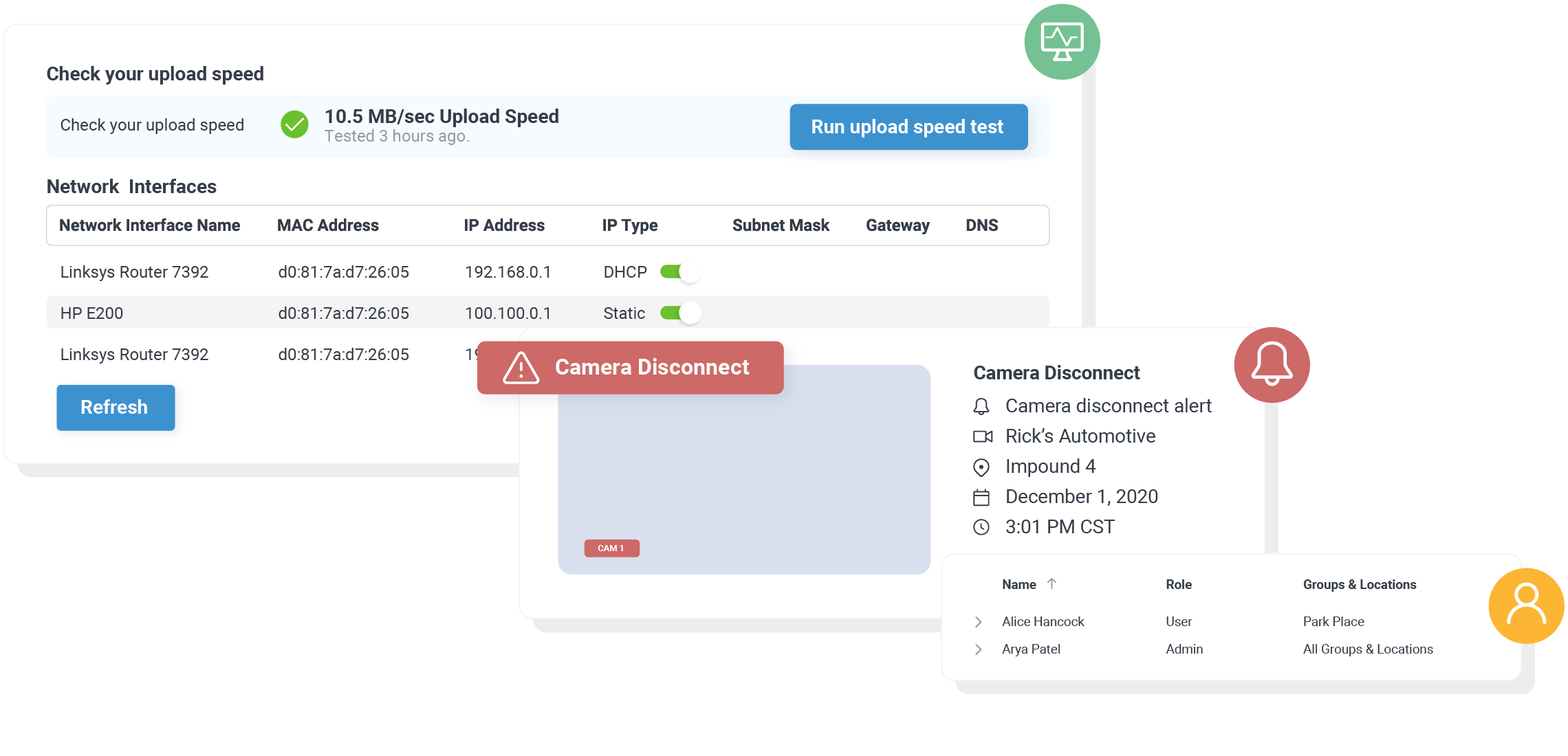 modals of camera health diagnostics and user UI