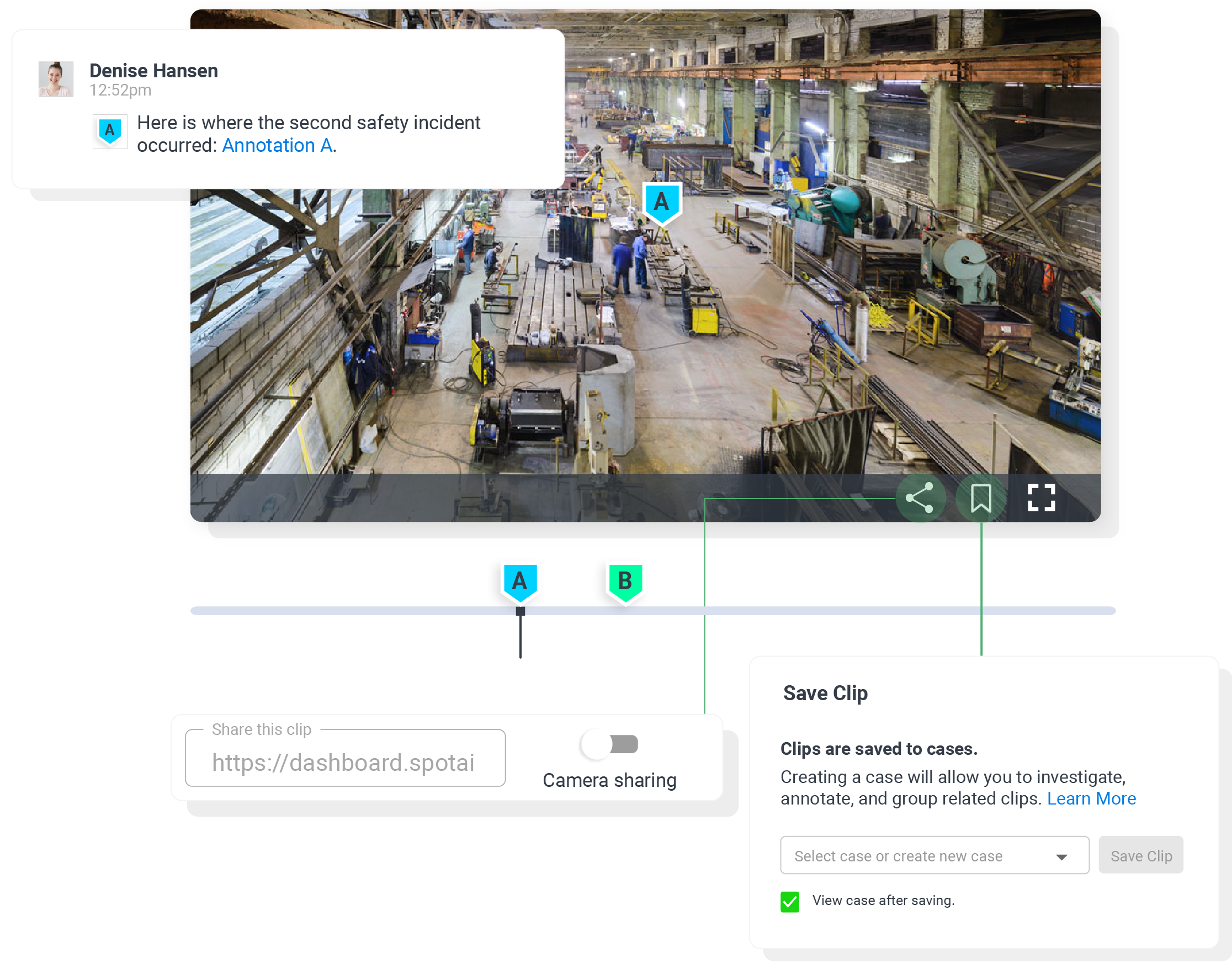 cloud video surveillance of safety incident clip with save and share UI modals