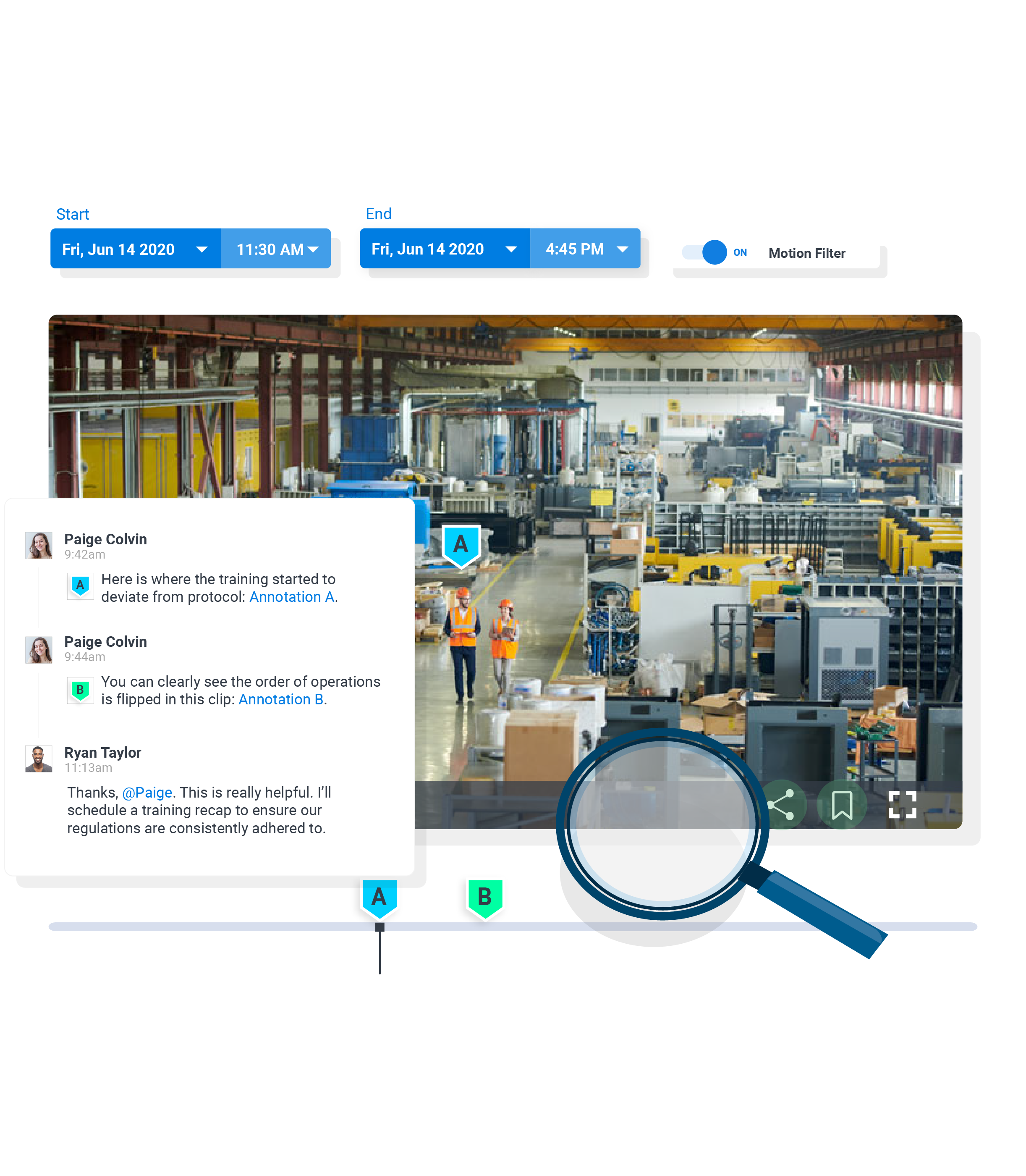 cloud video surveillance clip with annotations highlighting training issues on factory floor
