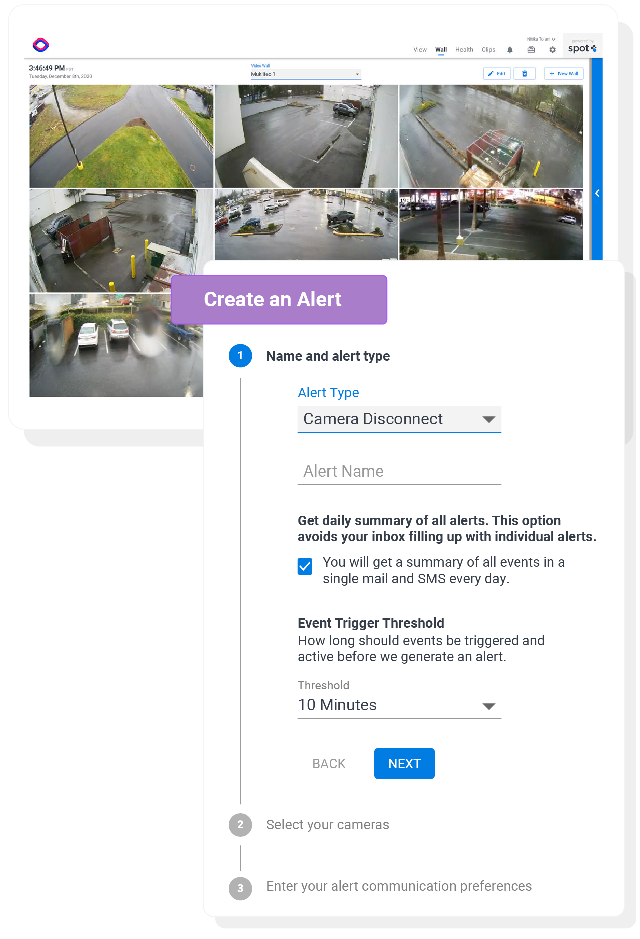 create an alert modal with video wall streaming cloud video surveillance footage