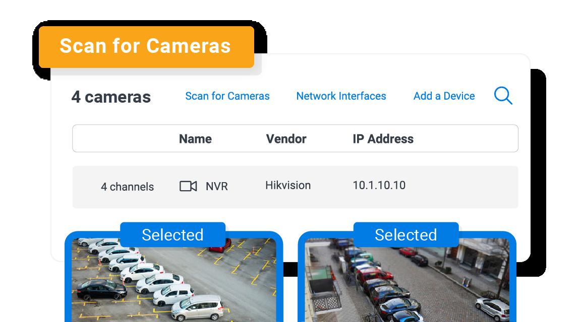 spot auto detecting camera streams