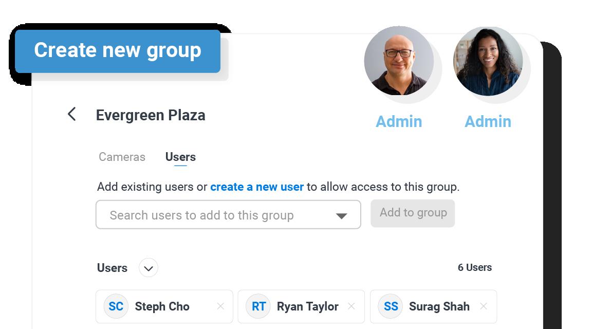 user management UI modal cloud video surveillance