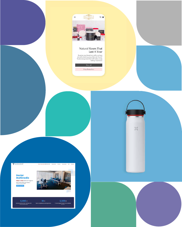 Collage displaying website design and product photography samples