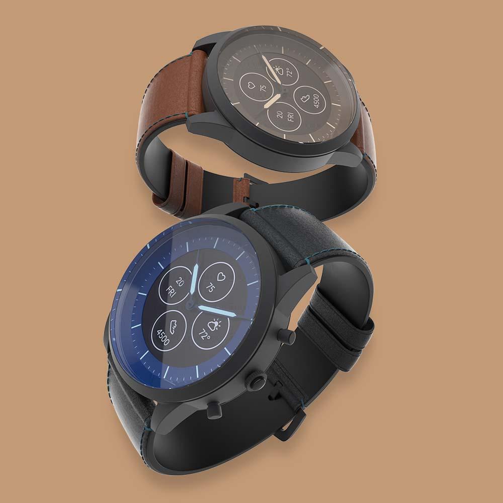 Mens blue and brown smartwatch 3D renderings