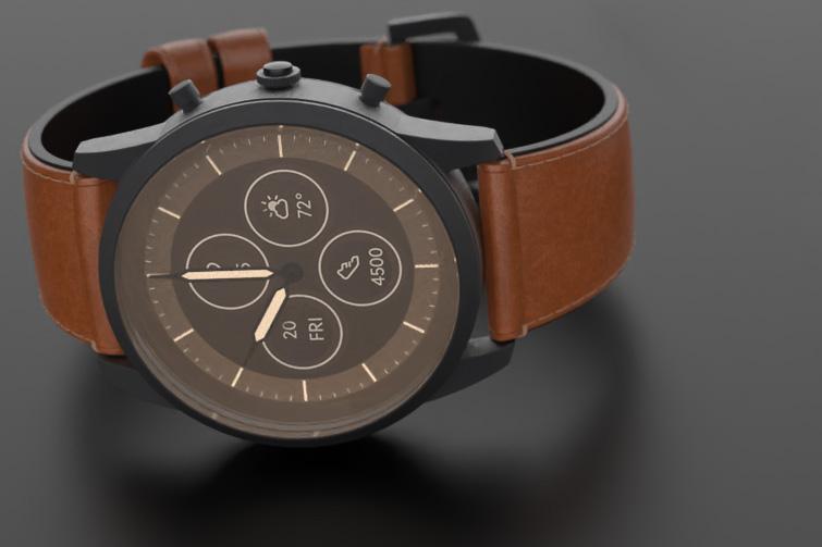 Mens brown smartwatch 3D rendering