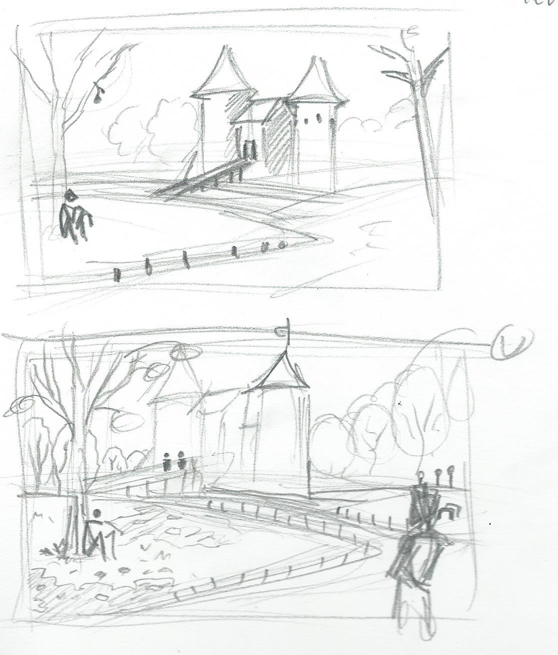 Pencil sketches of Castell Coch.